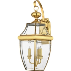 Outdoor Wall Light with Clear Glass in Polished Brass Finish