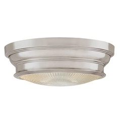 Flushmount Light with Clear Glass in Satin Nickel Finish