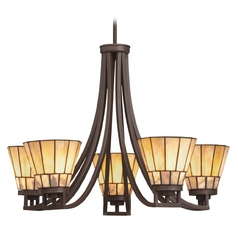 Kichler Craftsman Tiffany Chandelier with Art Glass in Bronze Finish