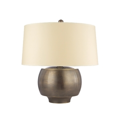 Modern Table Lamp with White Shade in Distressed Bronze Finish
