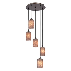 Design Classics Lighting Modern Multi-Light Pendant Light with Brown Art Glass and 5-Lights 580-220 GL1016C