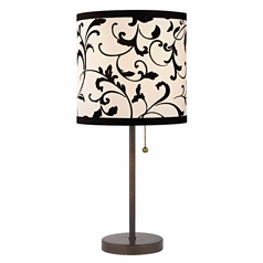 Bronze Pull-Chain Table Lamp with Black / White Filigree Drum Shade