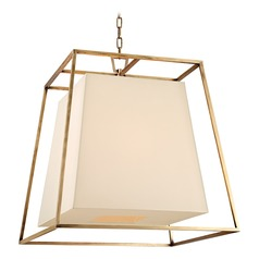 Kyle 6 Light Pendant Light Square Shade - Aged Brass