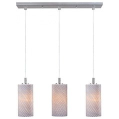 Carte Satin Nickel Multi-Light Pendant with Cylindrical Shade