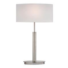 Modern LED Table Lamp with White Shades in Satin Nickel Finish