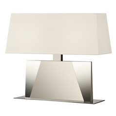 Sonneman Lighting Facet Satin Nickel Table Lamp with Rectangle Shade