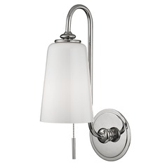 Glover 1 Light Switched Pull Chain Sconce - Polished Nickel