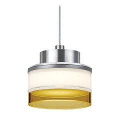 Besa Lighting Pivot Satin Nickel LED Mini-Pendant Light with Drum Shade