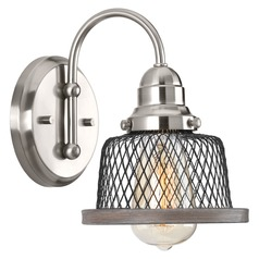 Farmhouse Sconce Brushed Nickel With Wooden Tilley by Progress Lighting