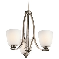 Kichler Mini-Chandelier with White Glass in Brushed Pewter Finish