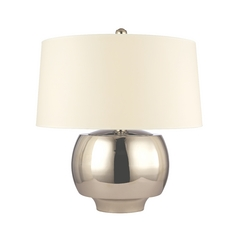 Modern Table Lamp with Beige / Cream Paper Shade in Polished Nickel Finish