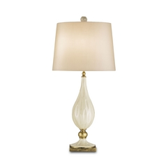 Table Lamp in Antique White Crackle/brass Finish
