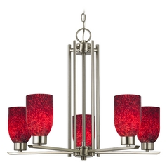 Chandelier with Red Glass in Satin Nickel - 5-Lights