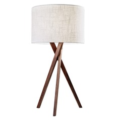 Adesso Home Brooklyn Walnut Wood Table Lamp with Drum Shade