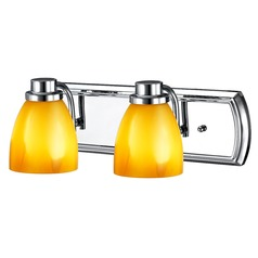 2-Light Vanity Light in Chrome with Butterscotch Glass
