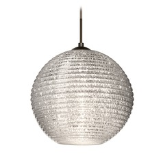 Besa Lighting Kristall Ribbed Glass Bronze Pendant Light