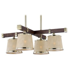 Mid-Century Modern Chandelier Pecan / Brass Maritime by Maxim Lighting