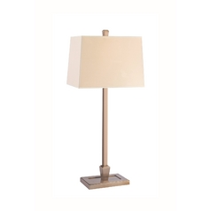 Table Lamp with Beige / Cream Paper Shade in Brushed Bronze Finish