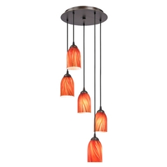 Design Classics Lighting Modern Multi-Light Pendant Light with Red Glass and 5-Lights 580-220 GL1017D