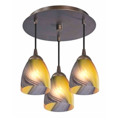3-Light Semi-Flush Ceiling Light with Art Glass - Bronze Finish