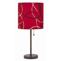 Pull-Chain Bronze Table Lamp with Red Pattern Drum Shade