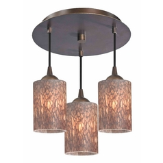 3-Light Semi-Flush Ceiling Light with Brown Art Glass - Bronze Finish