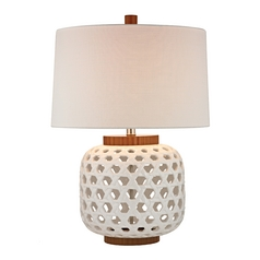 Table Lamp with Drum Shade with White Wood Cutout Base