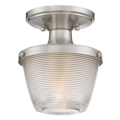 Quoizel Lighting Prismatic Glass Brushed Nickel Semi-Flushmount Light