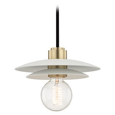 Mid-Century Modern Mini-Pendant Light Brass Mitzi Milla by Hudson Valley