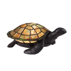 Vintage Bronze Tiffany Sea Turtle Table Lamp
