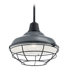 Kichler Lighting Pier Gloss Grey 100W Hanging Barn Light with Cage