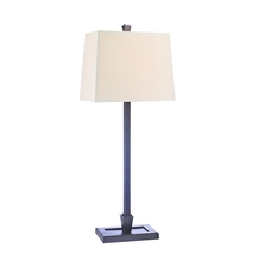 Table Lamp with Beige / Cream Paper Shade in Old Bronze Finish