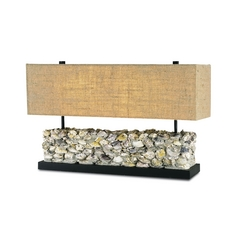 Table Lamp with Brown Tones Grasscloth Shades in Satin Black/natural Oyster Finish