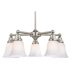 Five Light Chandelier with White Bell Glass in Satin Nickel Finish