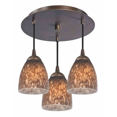 3-Light Semi-Flush Ceiling Lightt with Bell Art Glass - Bronze Finish