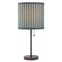 Design Classics Lighting Drum Table Lamp with Pull-Chain with Blue / Grey Striped Shade 1900-604 SH9519