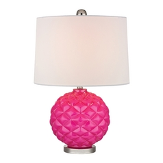 Hot Pink Accent Lamp with White Shade