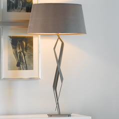 Hubbardton Forge Lighting Facet Burnished Steel Table Lamp with Empire Shade