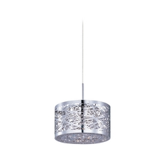 Modern Low Voltage Mini-Pendant Light with Silver Cage Shade