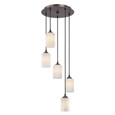 Design Classics Lighting Modern Multi-Light Pendant Light with White Glass and Five-Lights 580-220 GL1020C