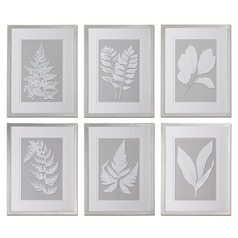 Uttermost Moonlight Ferns Framed Art, Set of 6