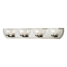 Modern Bathroom Light with White Glass in Polished Nickel/matte Nickel Finish