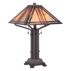Quoizel Tiffany Western Bronze Table Lamp with Square Shade