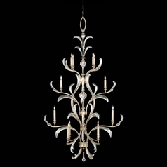 Fine Art Lamps Beveled Arcs Silver Leaf Crystal Chandelier