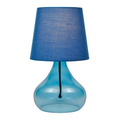 Lite Source Jamie Blue Table Lamp with Coolie Shade