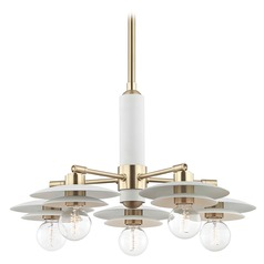 Mid-Century Modern Chandelier Brass / White Mitzi Milla by Hudson Valley