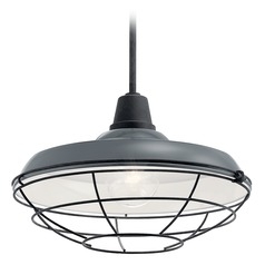 Kichler Lighting Pier Gloss Grey 150W Hanging Barn Light with Cage