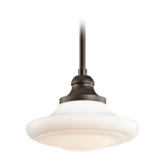 Kichler Pendant Light with White Glass in Olde Bronze Finish