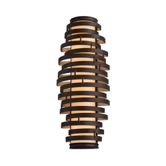 Corbett Lighting Modern Sconce with Brown Glass Shade in Bronze / Gold Leaf Finish 113-13-F