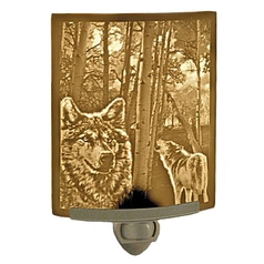 Porcelain Garden Lighting Lithophane Night Light with Wolves NR130